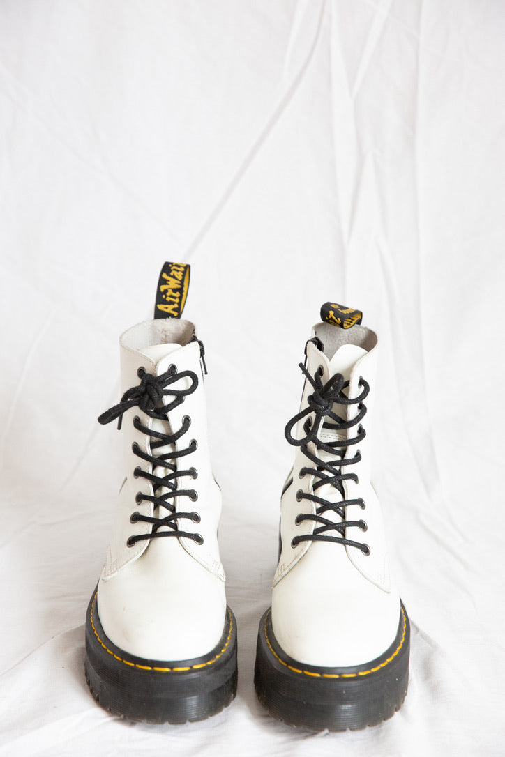 Dr Martens Jadon Platform Boots - White Leather