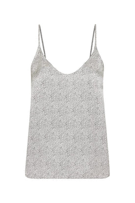 Silk Laundry - V Neck Cami, White Micro Dot - Worn For Good