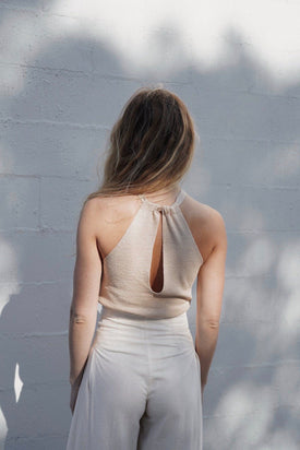 St Agni - Vail Halter Top, Nougat - Worn For Good