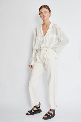 Frame - Silk Clean Safari Shirt, White - Worn For Good