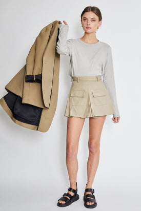 Matthew Adams - Dolan Draped Mini Skirt, Beige - Worn For Good