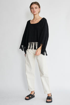 Apiece Apart Black Woven Fringe Top