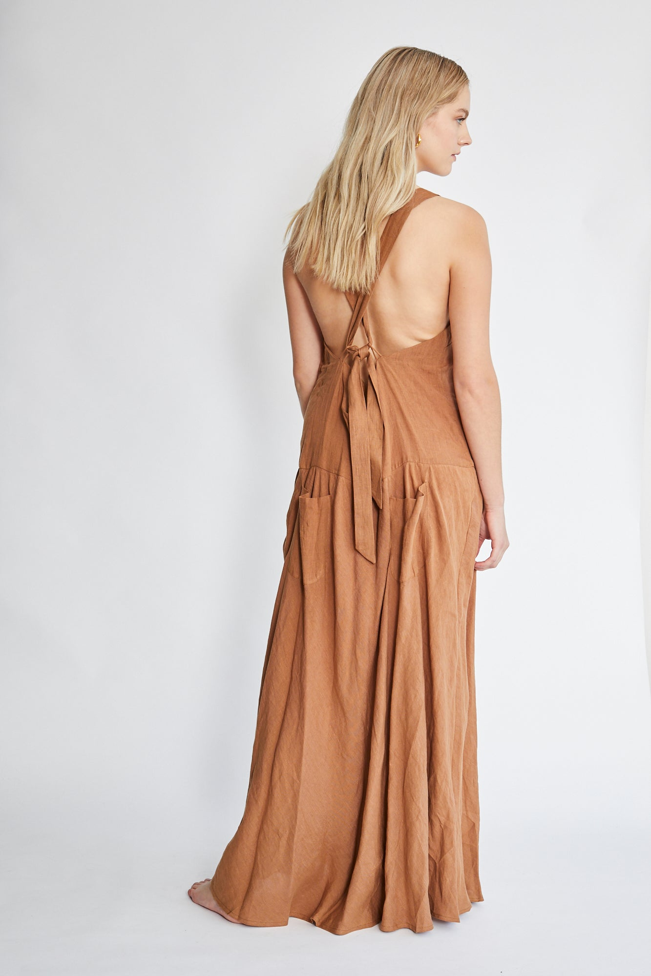 Matin Cross Back Linen Dress - Tan