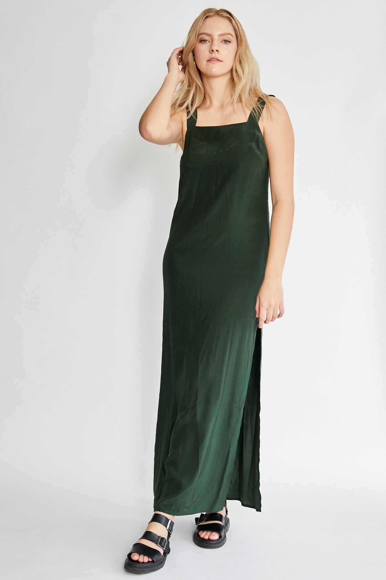 Matin Wide Strap Long Silk Dress