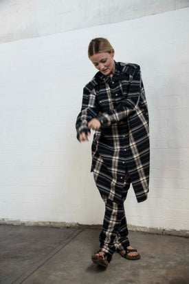 Bassike Check Utility Shirt Dress