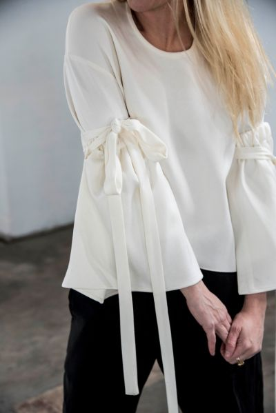 Ellery Cream Strappy Bell Sleeve Blouse