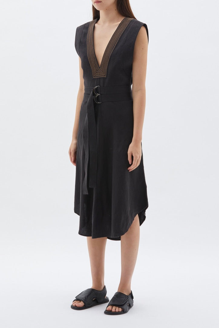 Bassike - Linen Belted Dress, Black