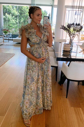 Zimmermann Super Eight Floral Ruffle Cotton & Silk Maxi