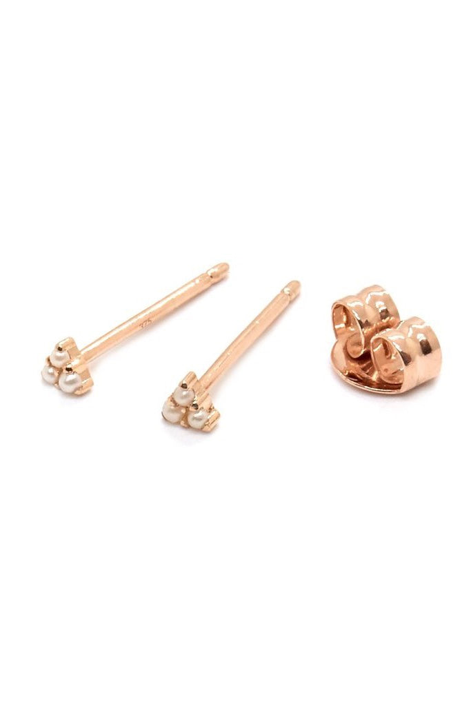 Natalie Marie - Dawn Pearl Studs, 9ct Rose Gold - Worn For Good