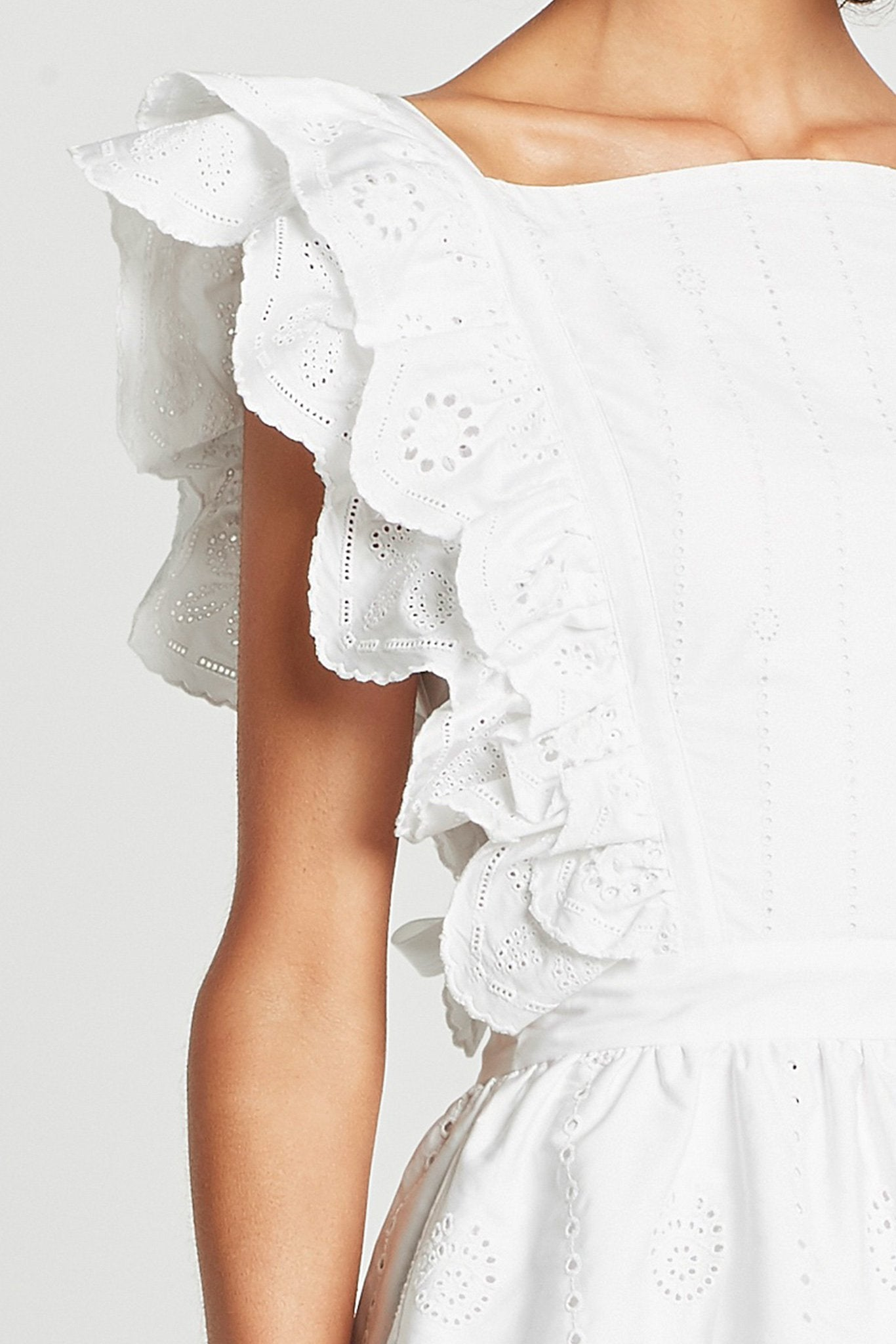 SIR The Label Delilah Ruffle Mini Dress - White