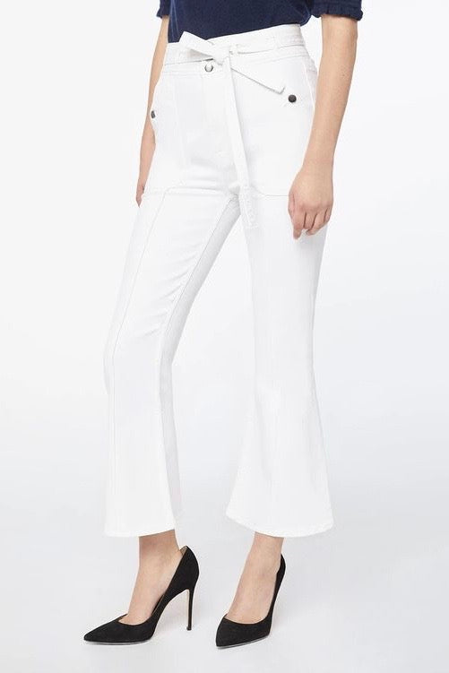 Frame Le Crop Flare Triple Waistband White Jeans