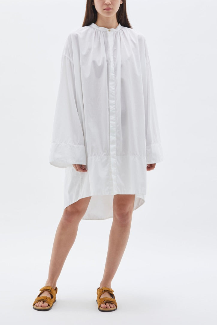 Bassike - Cotton Gathered Voluminous Dress, White
