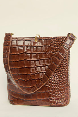 Brie Leon Mini Bucket Bag - Brown Oily Croc
