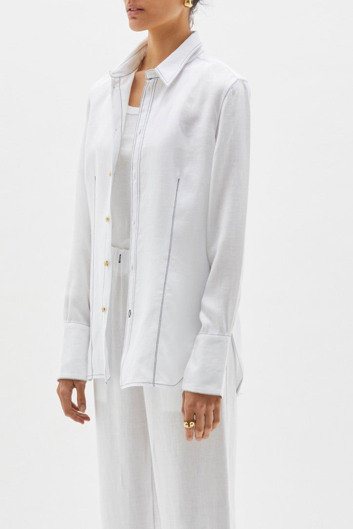 Bassike - Contrast Stitch Linen Shirt, White