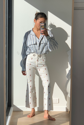 Miaou - Floral Denim Jeans, White - Worn For Good