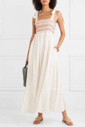 Zimmermann Goldie Embroidered Smocked Linen Maxi Dress