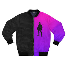 Load image into Gallery viewer, LaGuai Human Black Camo&Purple Gradient Bomber Jacket