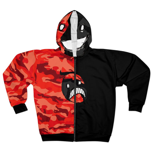 Emoji Face Red Camo Split Black Unisex Zip Hoodie