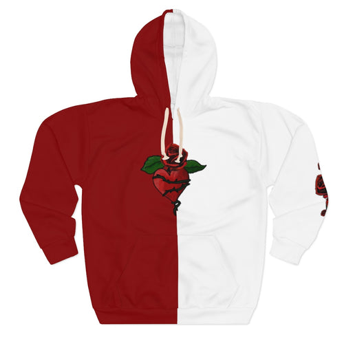 Love LaGuai Unisex Pullover Hoodie Two-Tone Red-White Roses and Wings