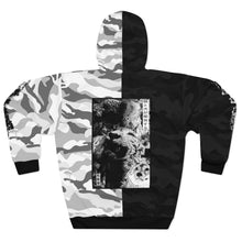 Load image into Gallery viewer, Spirit Black & White Camo Split Unisex Pullover Hoodie