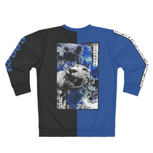 Load image into Gallery viewer, Blue Tiger, blue flower, blue and black sweatshirt, 2 tone, blue, black, Laguai,white tiger mens