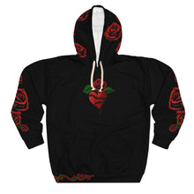 Load image into Gallery viewer, Love LaGuai Roses Black Unisex Pullover Hoodie with Red Roses