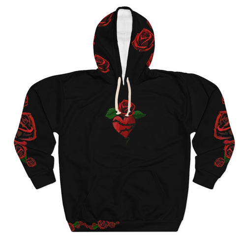 Love LaGuai Roses Black Unisex Pullover Hoodie with Red Roses