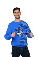 Load image into Gallery viewer, Emoji Blue Half Camo Unisex Sweatshirt