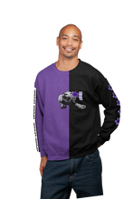 Load image into Gallery viewer, Spirit Duality Purple Unisex Sweatshirt Two-Tone Black/Purple LaGuai Tiger Purple Rose
