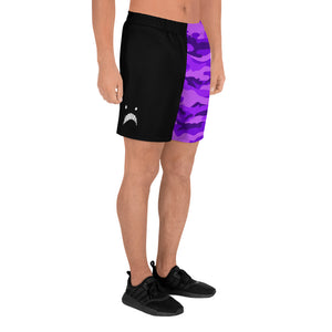 Emoji Black & Purple Camo Split Men's Athletic Shorts