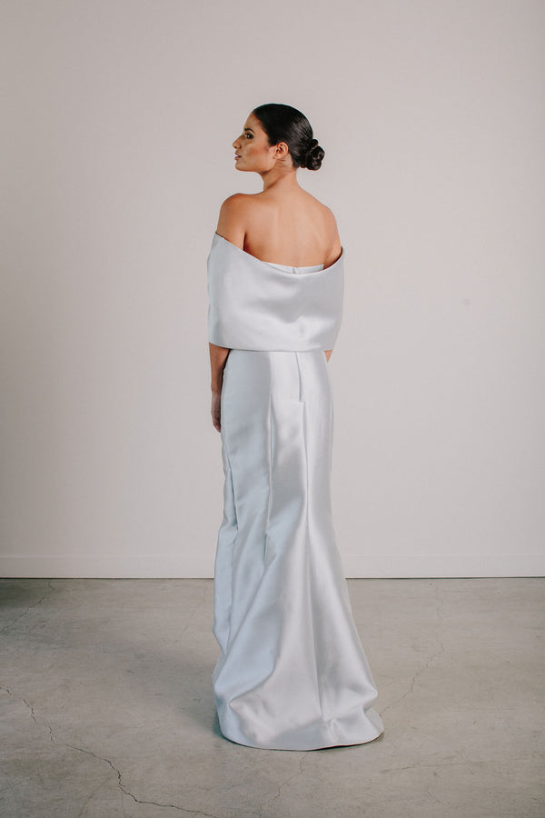 Off Shoulder Shawl Back Gown