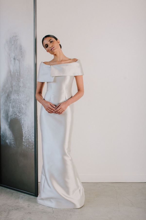 Asymmetrical Off Shoulder Gown