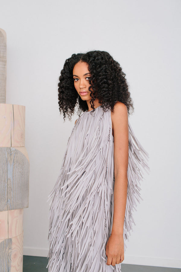 Jewel Neck All Over Fringe Sheath