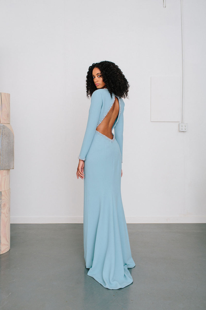 V-Neck Nikita Gown with Crystal Edge