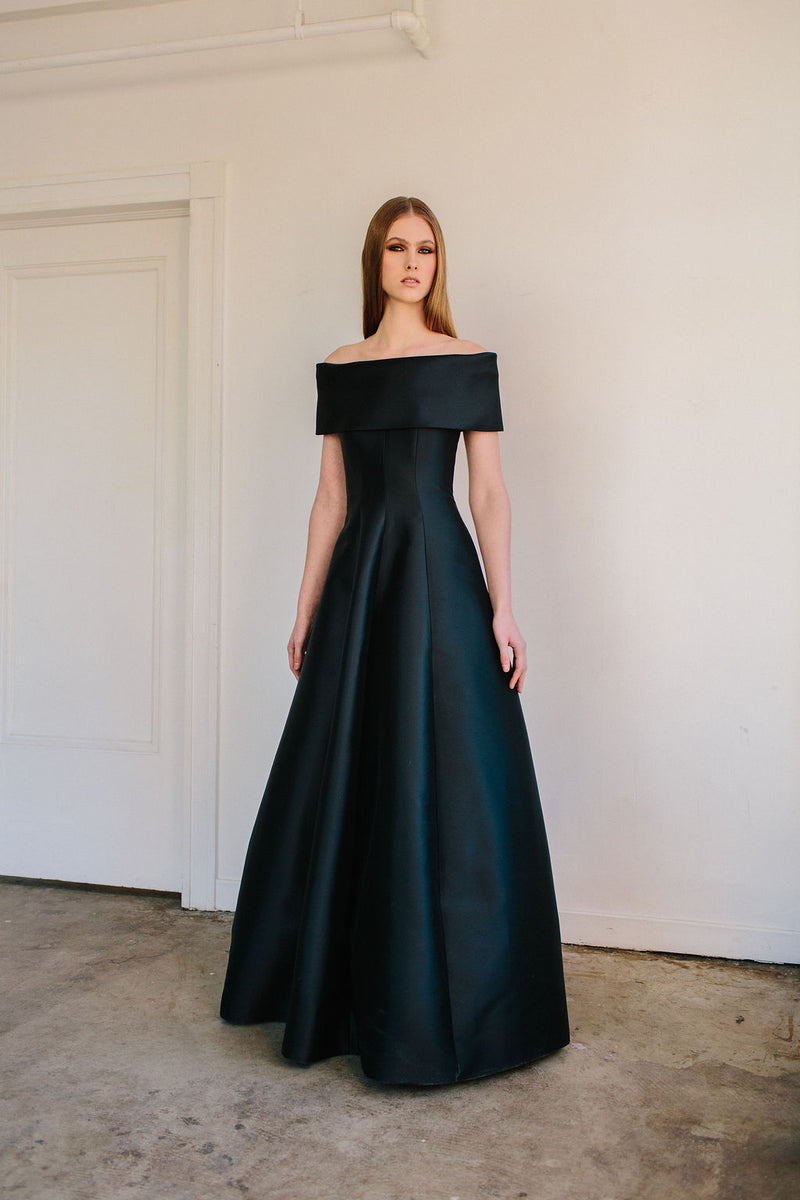Off Shoulder Roll Collar Van Der Rohe Gown