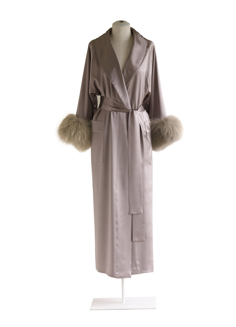 Shawl Collar Robe with Fox Fur Cuff
