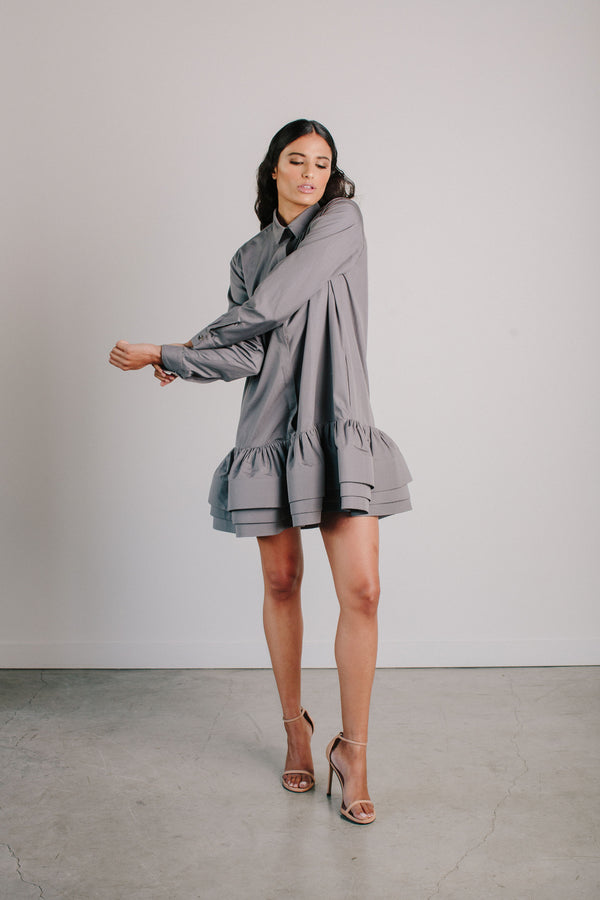 Shirt Dress with Ruffle Hem