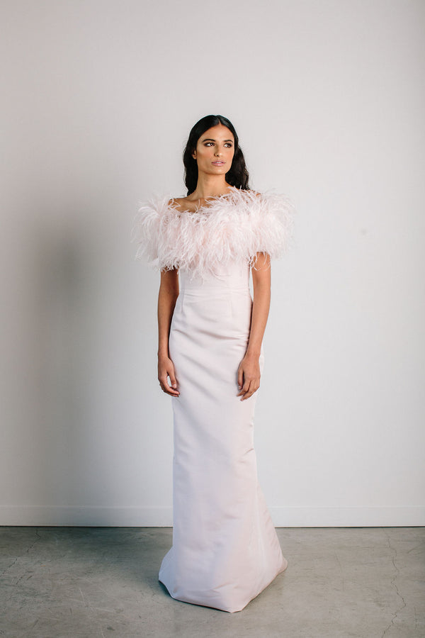 Off Shoulder Oriel Feather Gown