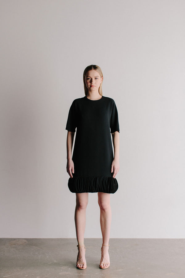 Jewel Neck Hanna Shift with Laser Cut Disc Hem