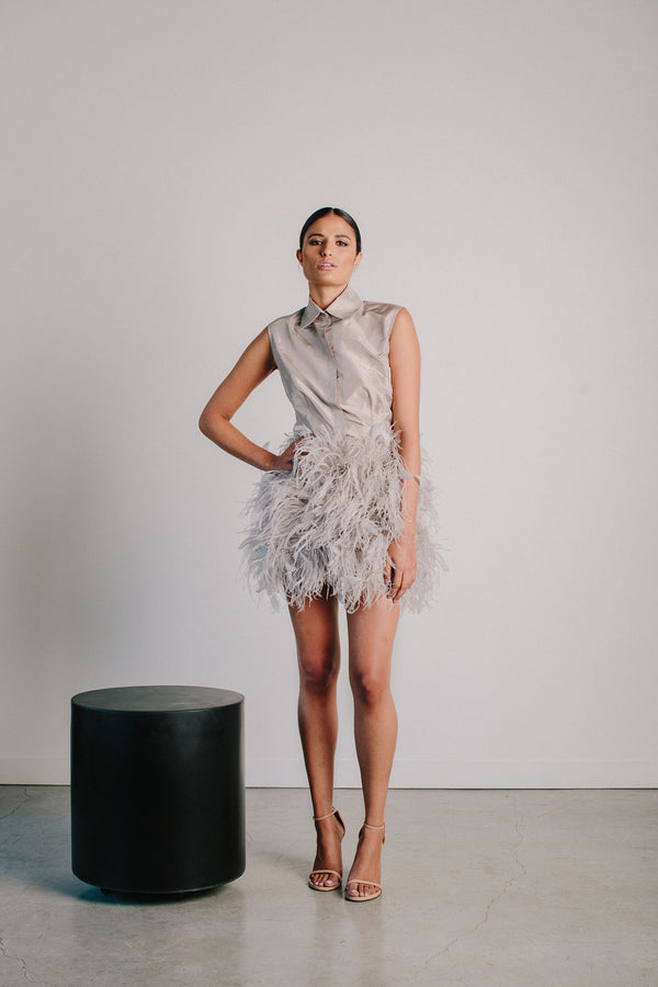 Sleeveless Collared Shirt and Ostrich Feather Skirt