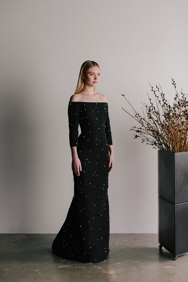 Off Shoulder Blanche Gown with All Over Scattered Pearls