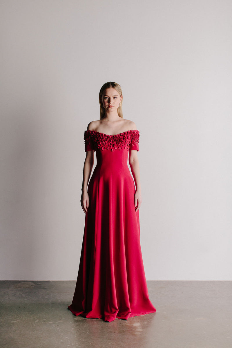 Off Shoulder Aster Flower Van Der Rohe Gown