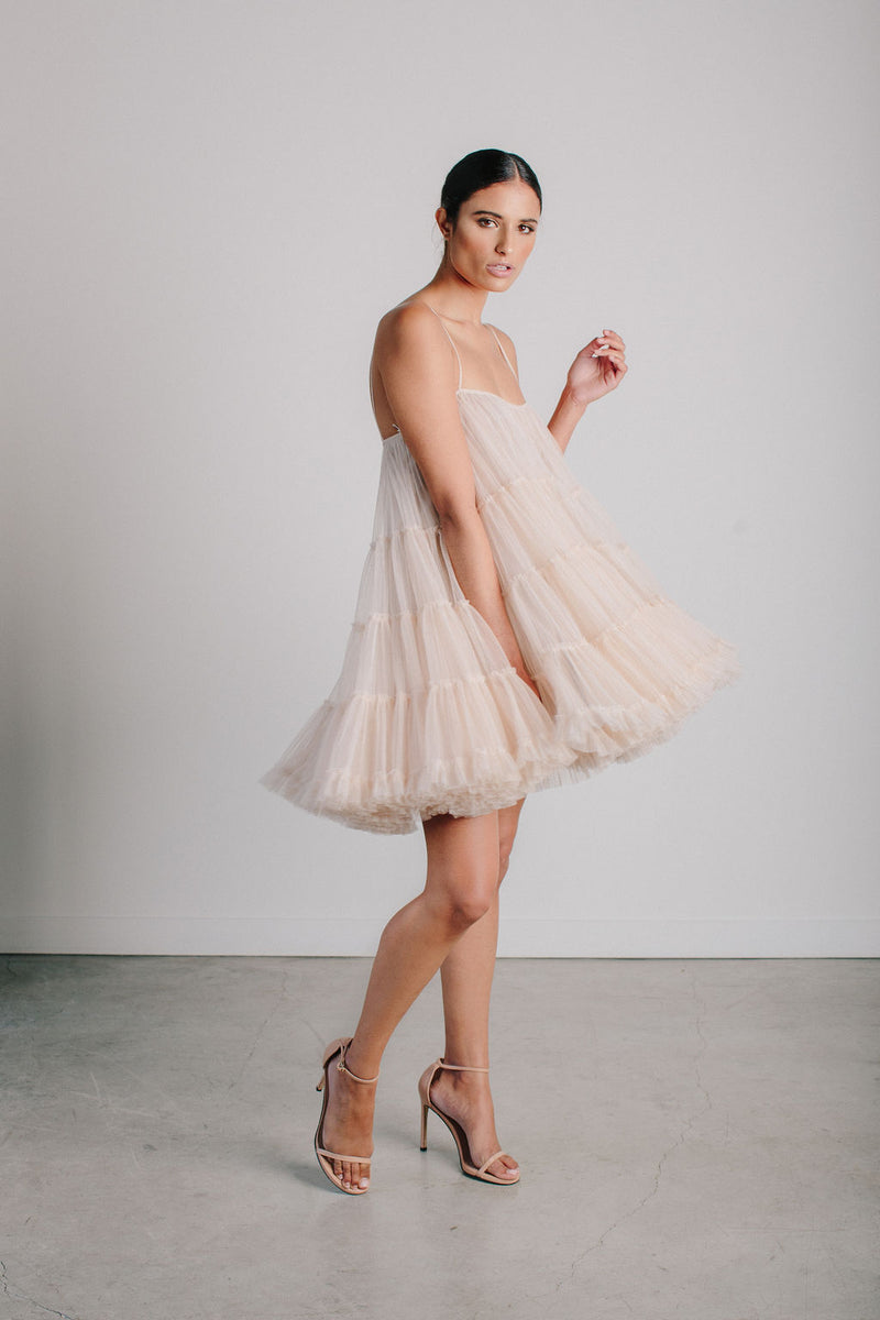 Tiered Tulle Baby Doll Dress