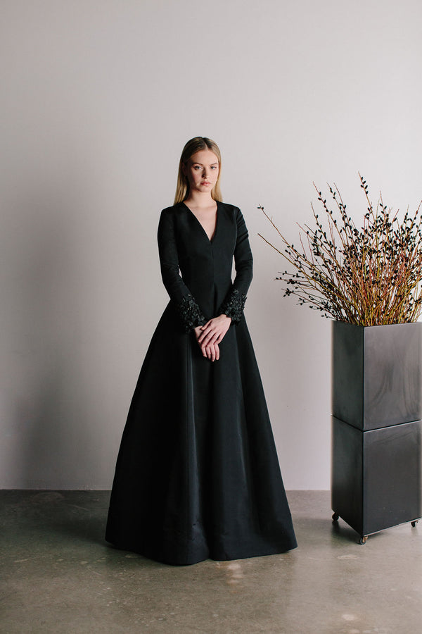 V-Neck Nora Van Der Rohe Gown with Apple Blossom Cuff