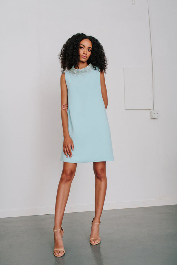 Sleeveless Ceci Shift with Gem Neckline