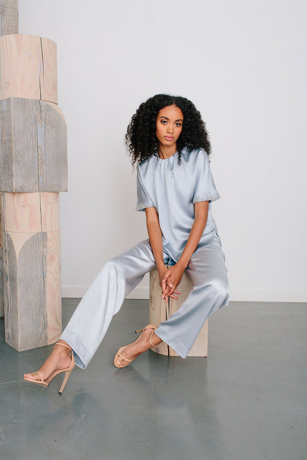 Pleated Jewl Neck Top and Pull On Pant Set