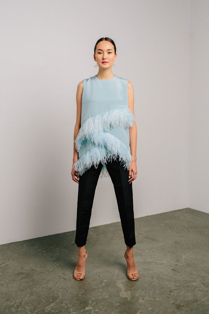 Jewel Neck Layered Feather Top