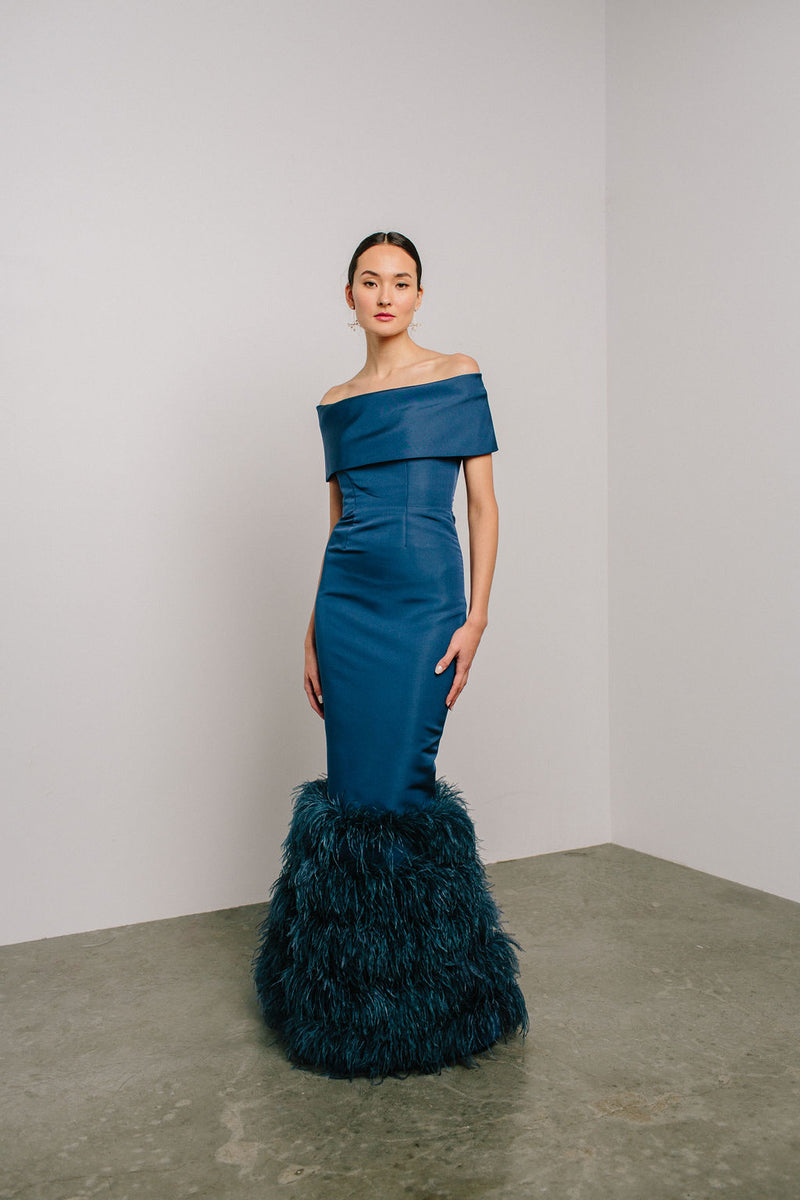 Off Shoulder Gown with Tiered Feather Hem