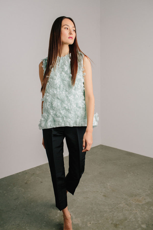 Jewel Neck Dahlia Tank with Crystals and Capri Pant