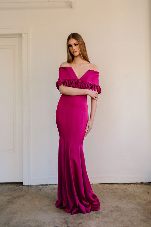 Off Shoulder Oceane Gown with Fluted Skirt
